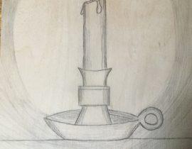 Candle on wood