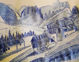 Val pusteria 3, sketch a penna.