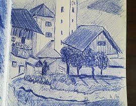 Val pusteria 4, sketch a penna