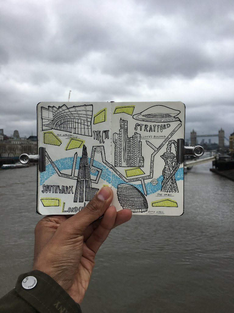 City Map Drawing of London, England