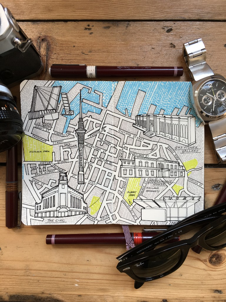City Map Drawing of Auckland, New Zealand
