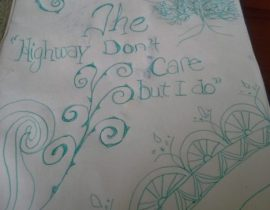 "Doodle with ""The Highway Don't Care"" words"