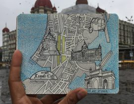 City Map Drawing of Mumbai, India