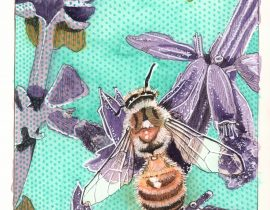 Honeybee and Lavender painting