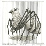 Spiderpigeon ink drawing