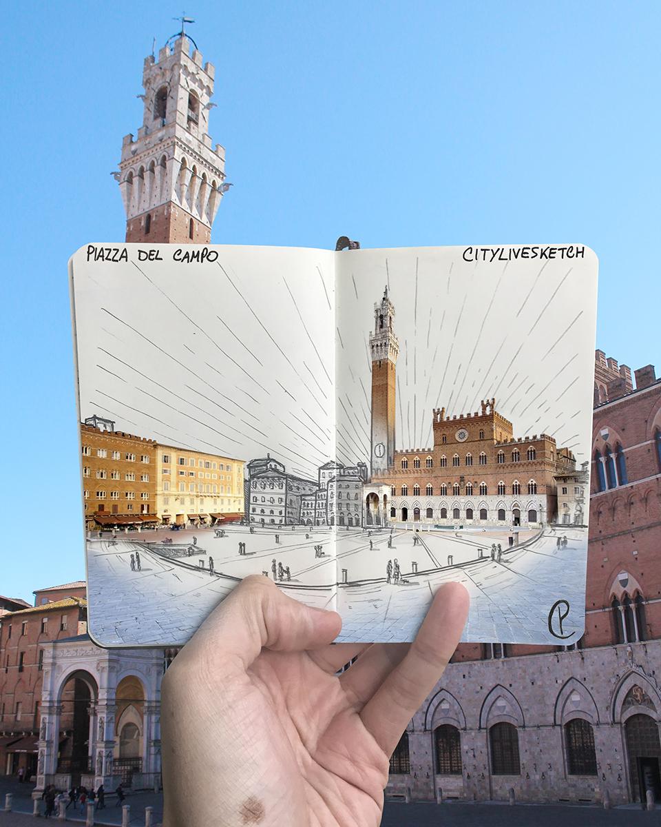 Piazza del Campo Live Sketch