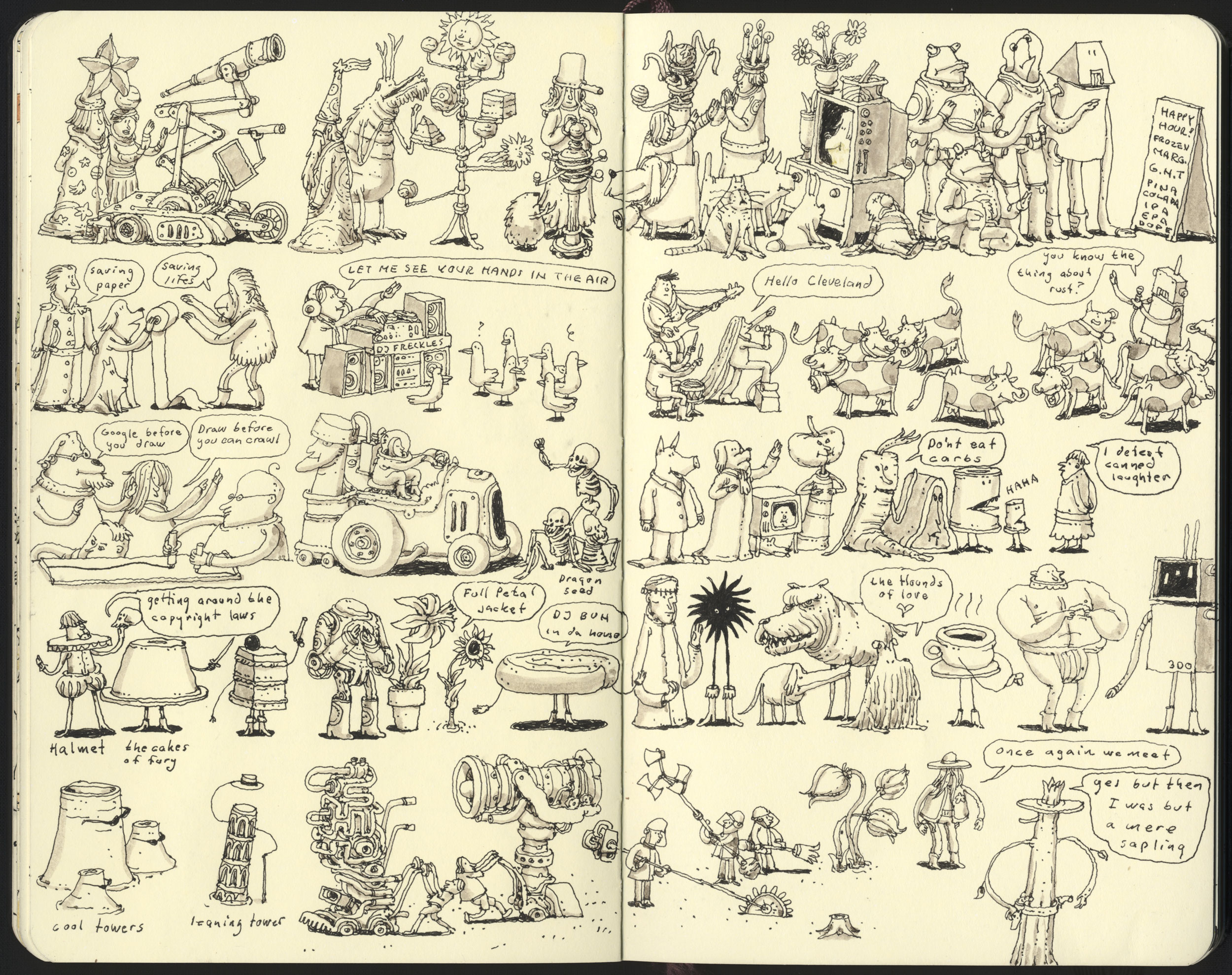 Lawnmower man and other stories scanned drawing made this summer.