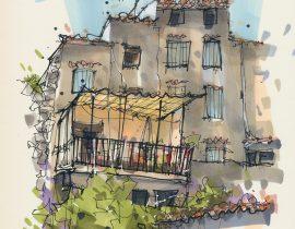 House with balcony on nameless street, Villecroze, France