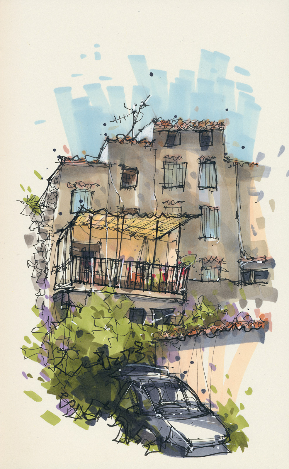House with balcony on nameless street, Villecroze, France