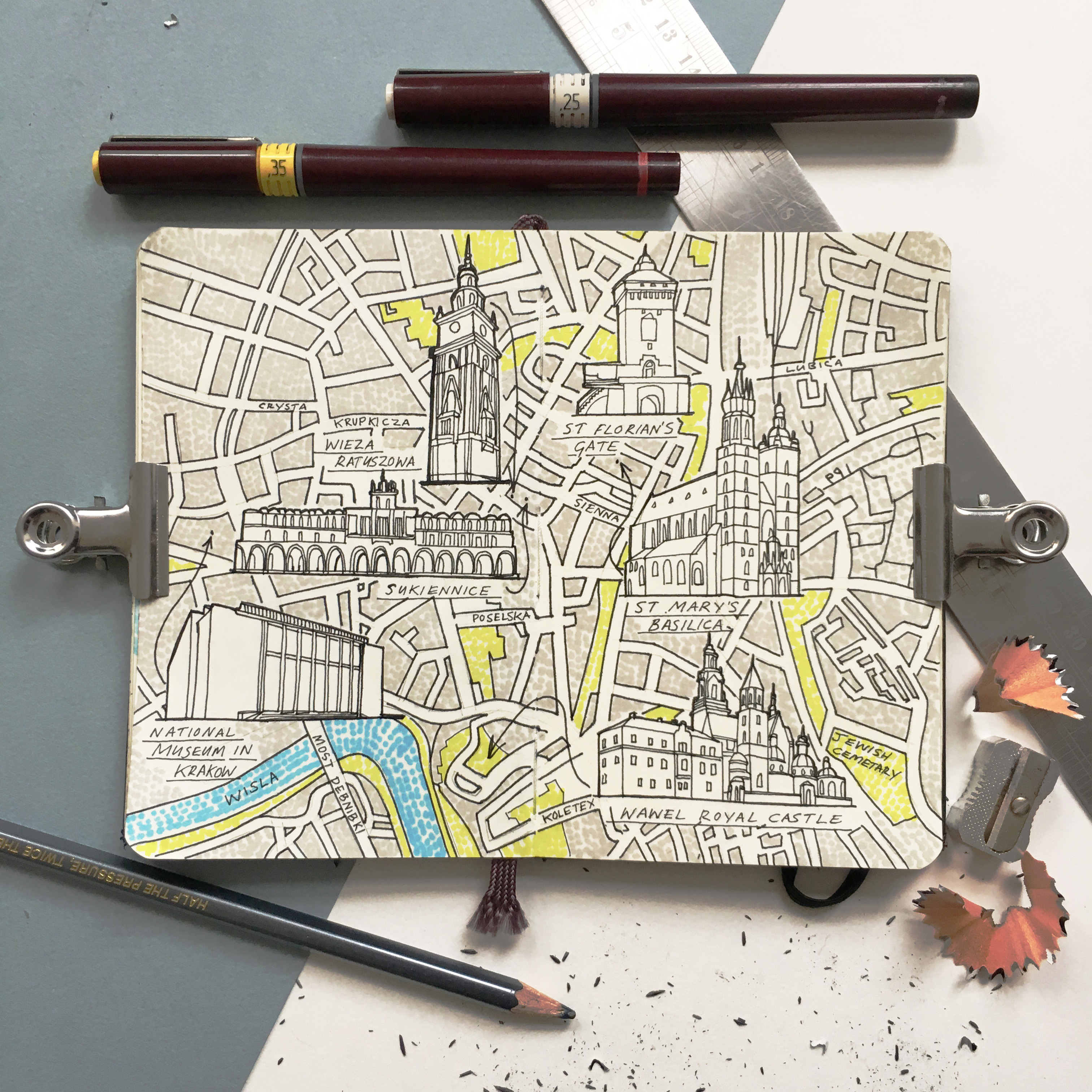 City Map Drawing of Krakow, Poland