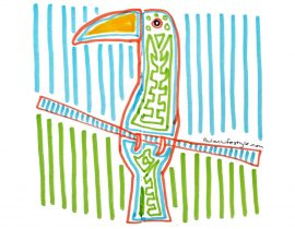 Toucan folk art in the style of Guna Indian Mola art