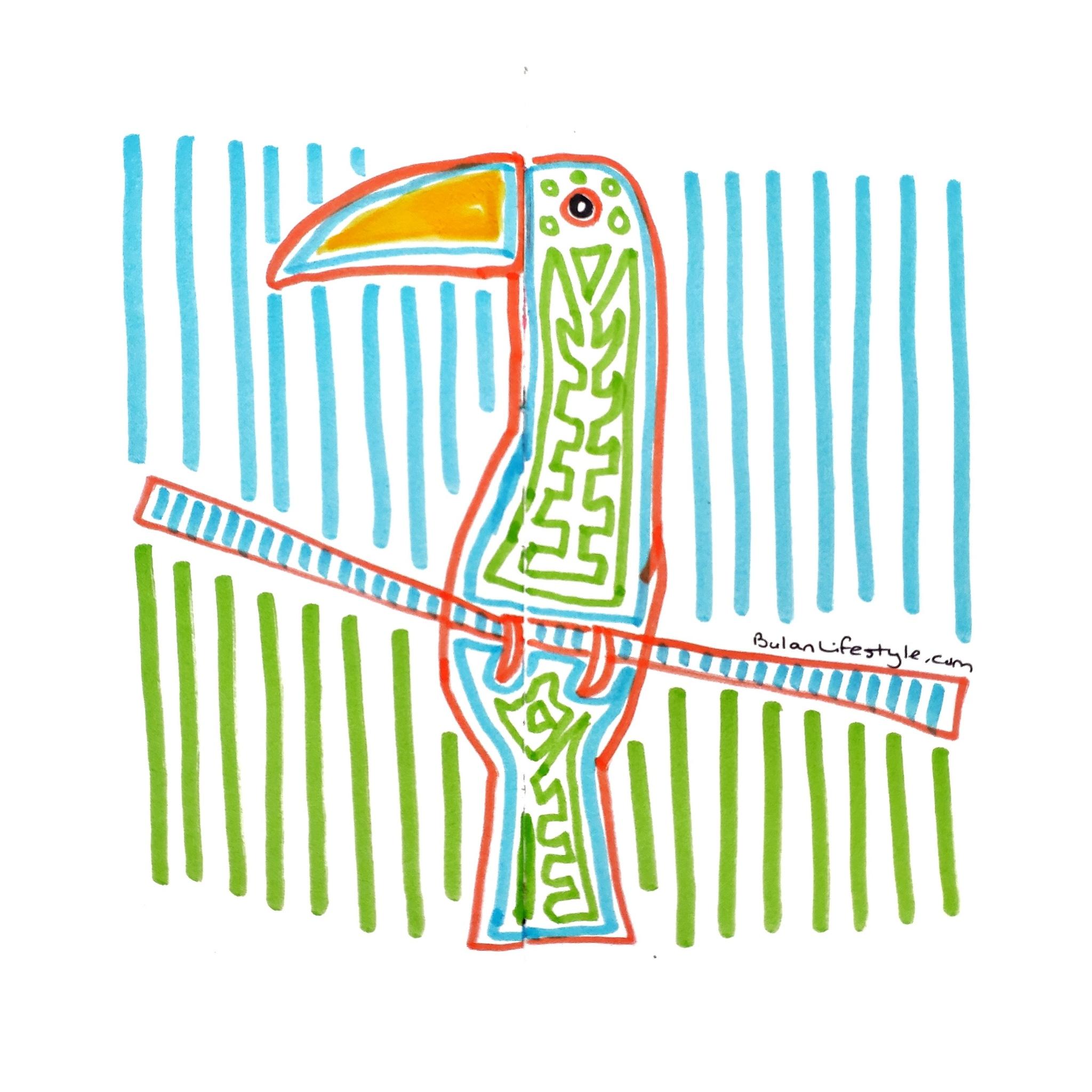 Toucan folk art in the style of Guna Indian Mola art