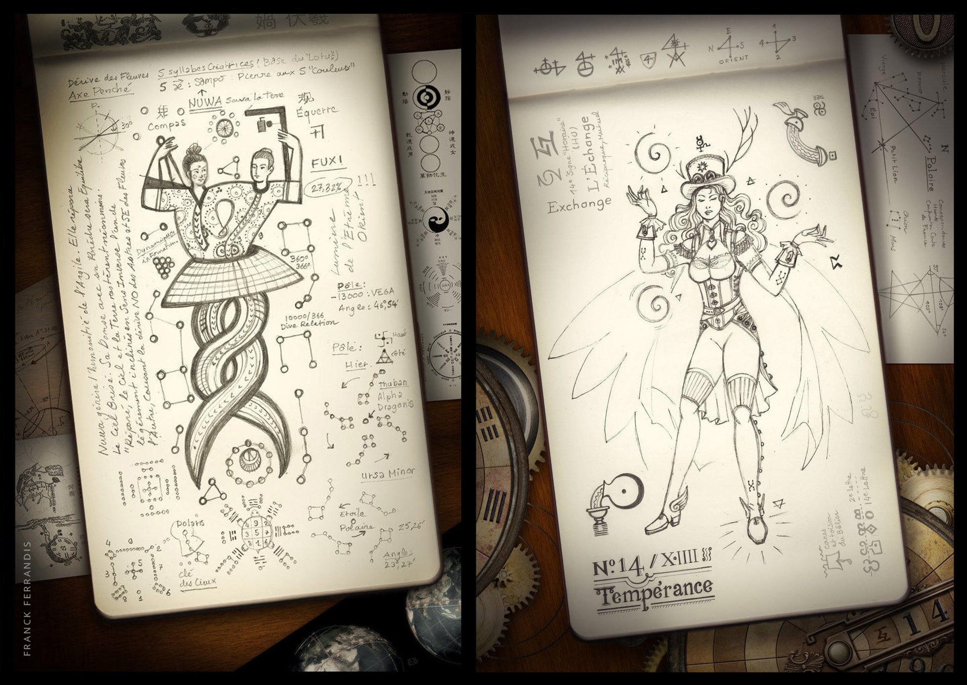 Fuxi & Nuwa – Alchemy Tempérance (very old small classic reporter Moleskine)