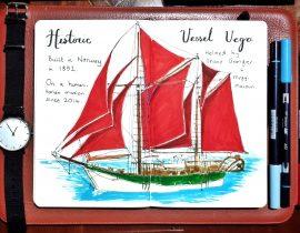 Historic vessel vega wooden boat