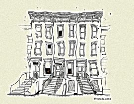 Brooklyn brownstone line art