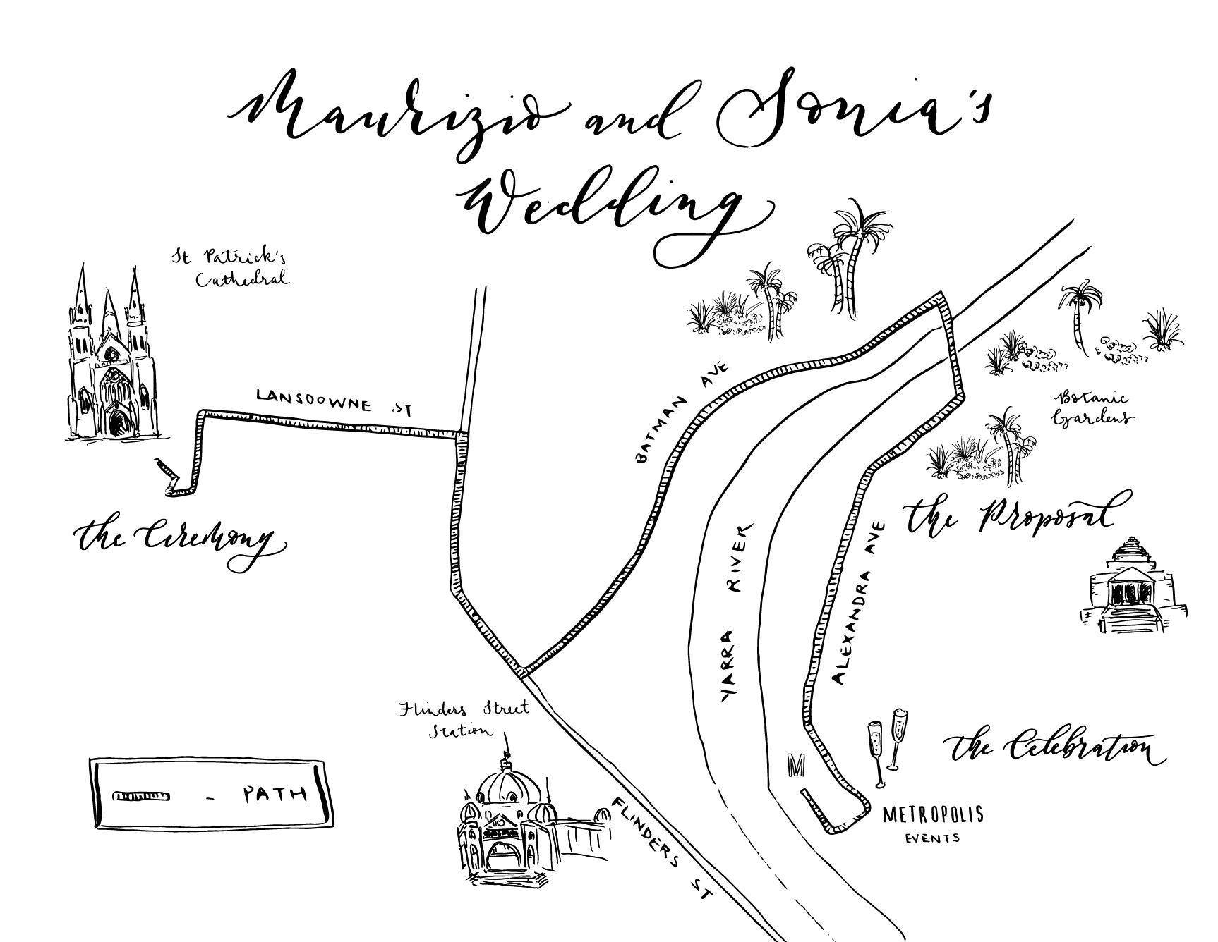 Illustrated wedding invitation map