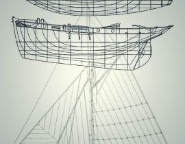 draft of classic boats drawing