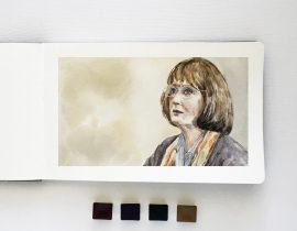 Meryl Streep in Big Little Lies – Watercolor Portrait in Moleskine (5.x8)