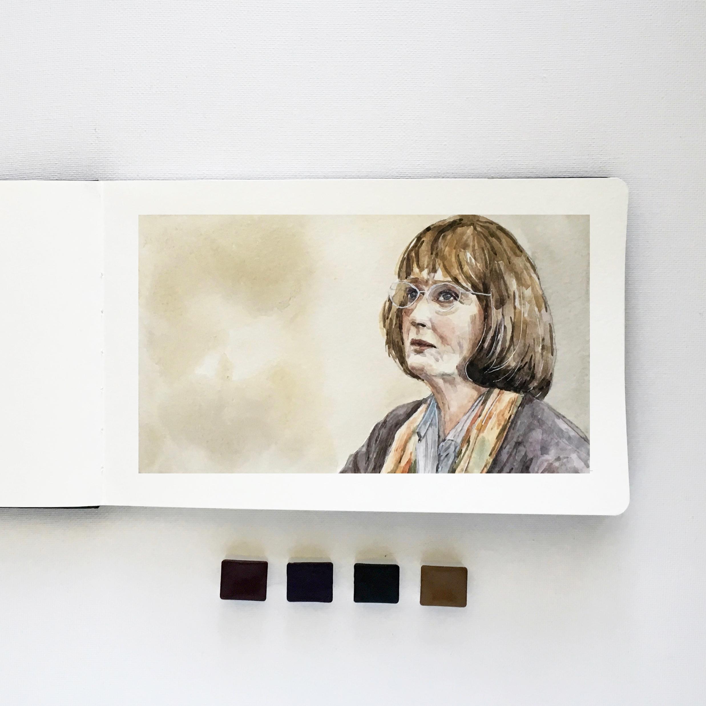 Meryl Streep in Big Little Lies – Watercolor Portrait in Moleskine (5.x8)