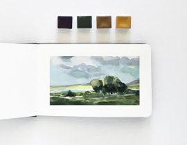 Watercolor Landscape in a Small Moleskine (3.5×5)