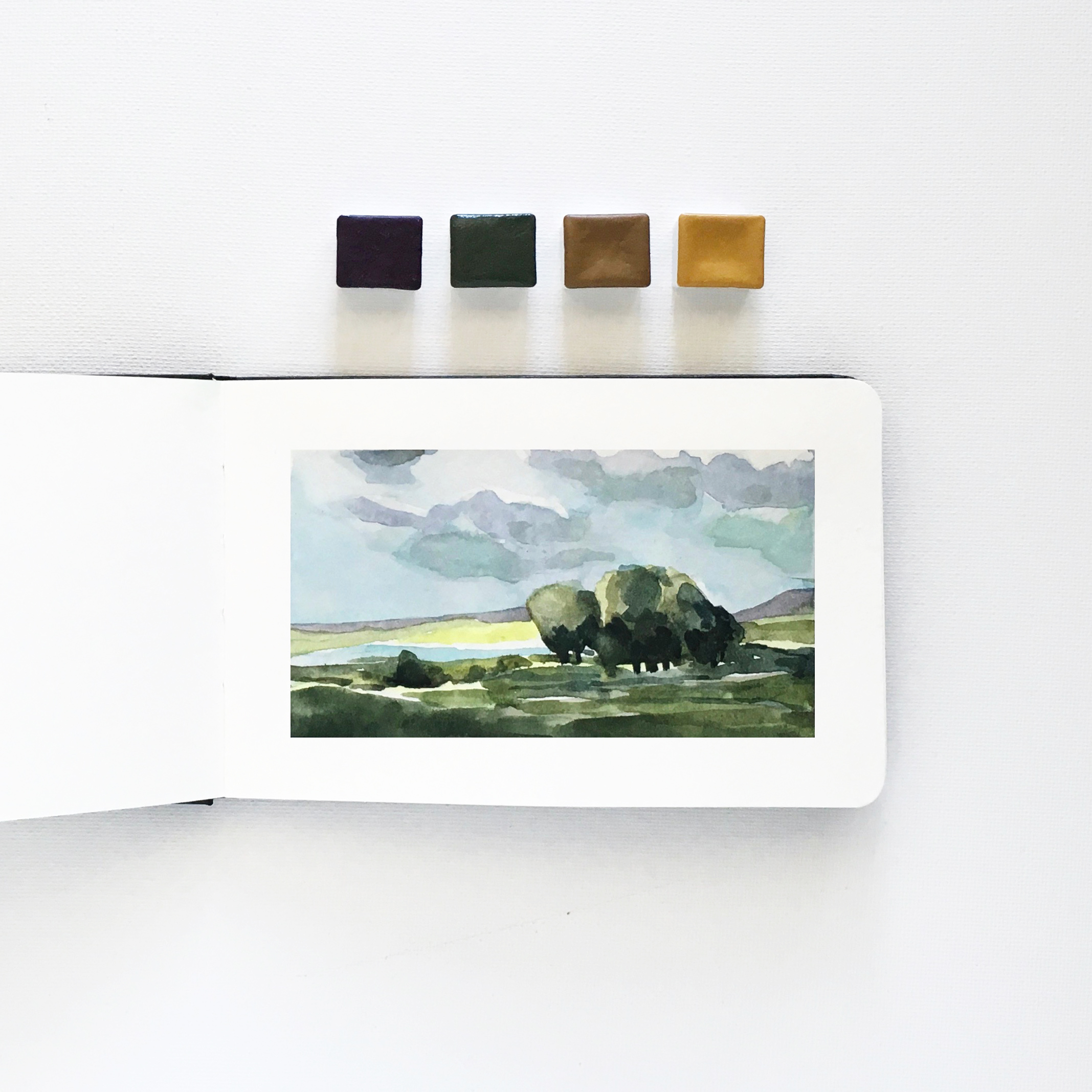 Watercolor Landscape in a Small Moleskine (3.5×5)