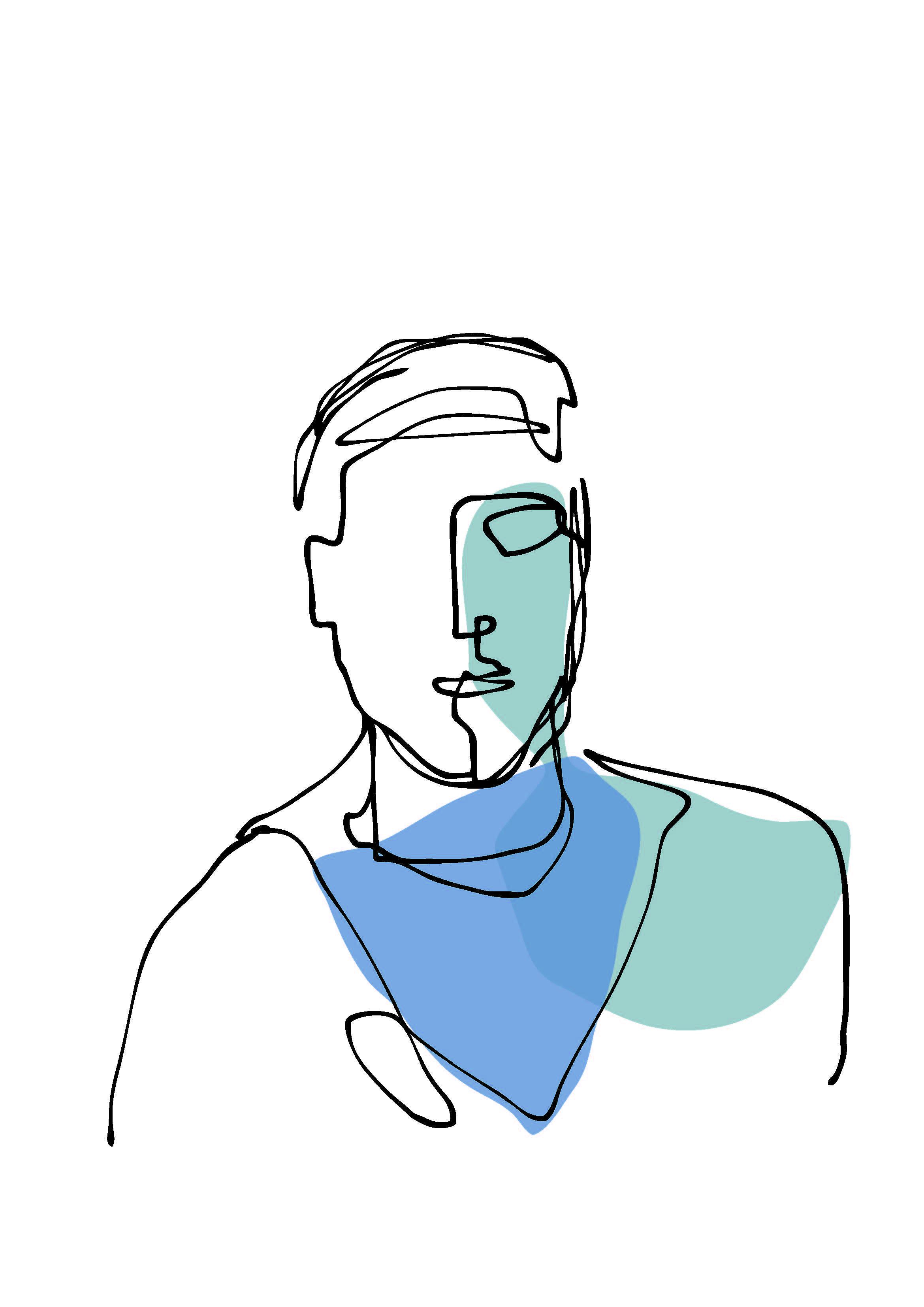 one-line portrait 3 color