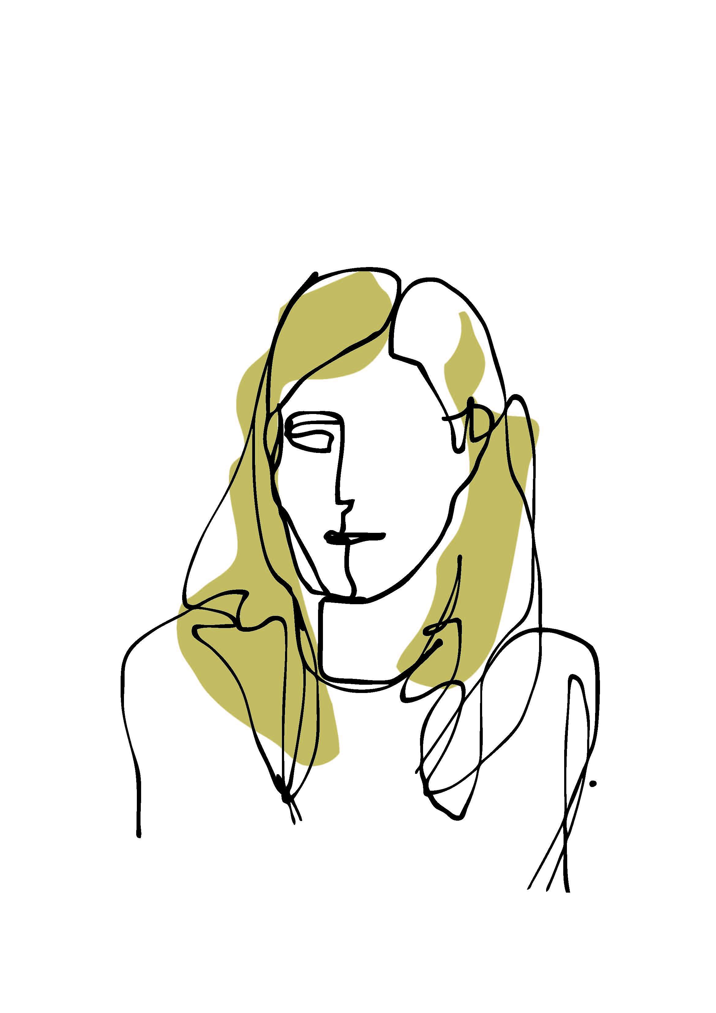 one-line portrait 2 color