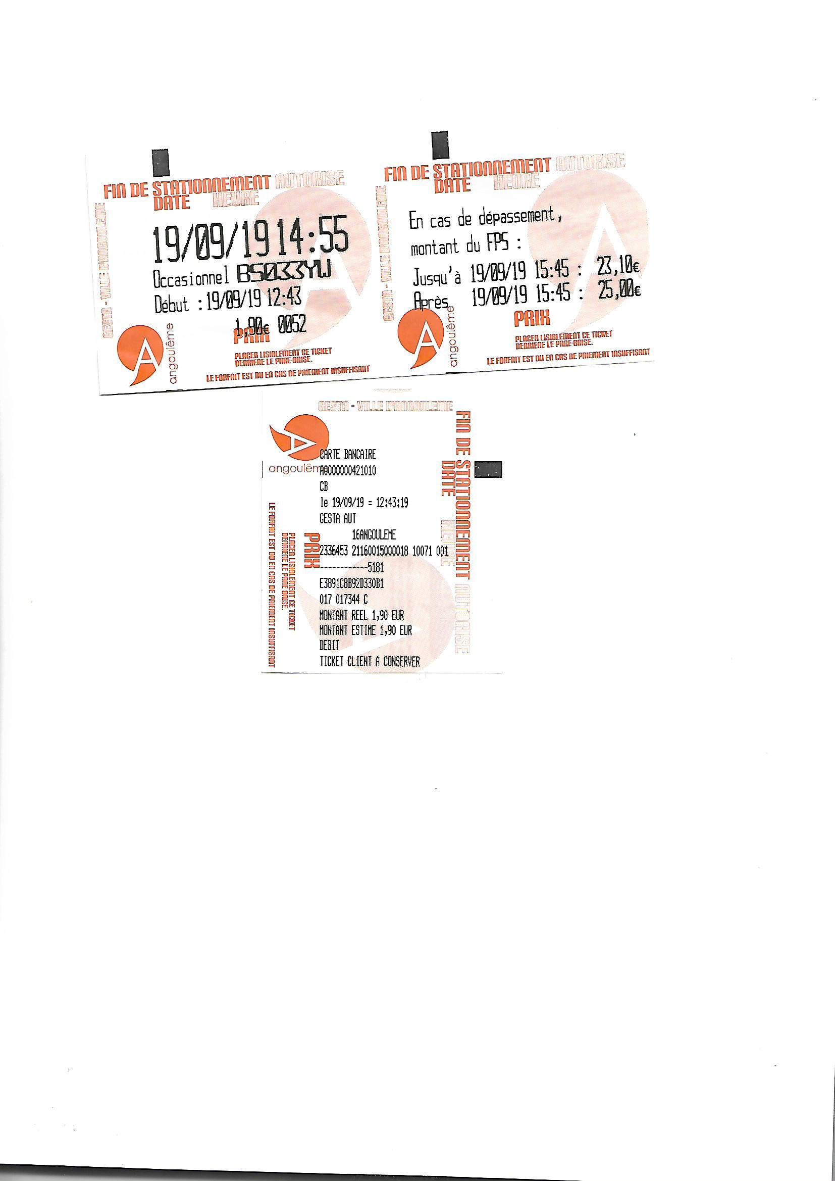 Tickets stationnement Angoulême le 19.09.2019