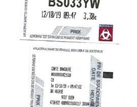 Tickets stationnement Bordeaux 12.10.2019 9h47