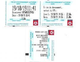 Tickets stationnement Bordeaux 19.10.2019