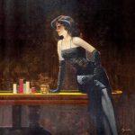Dame i baren.