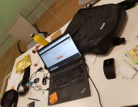 @work with my Moleskine backpack