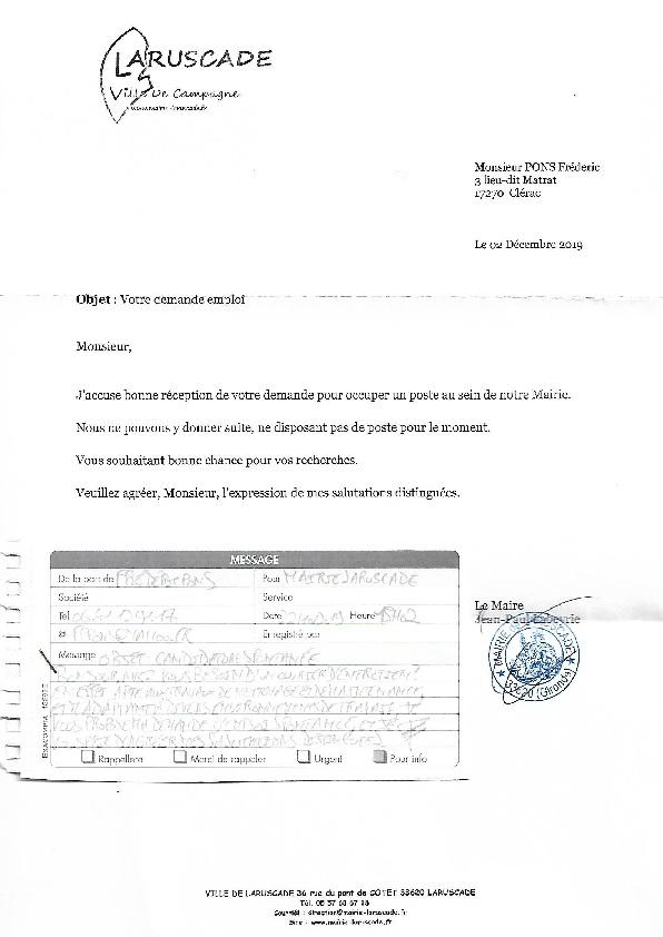 Mairie de Laruscade lettre du 02.12.2019