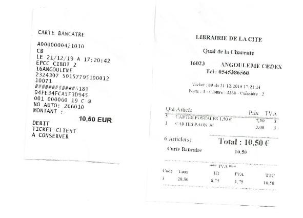 Tickets CIBDI Angoulême du 21.12.2019