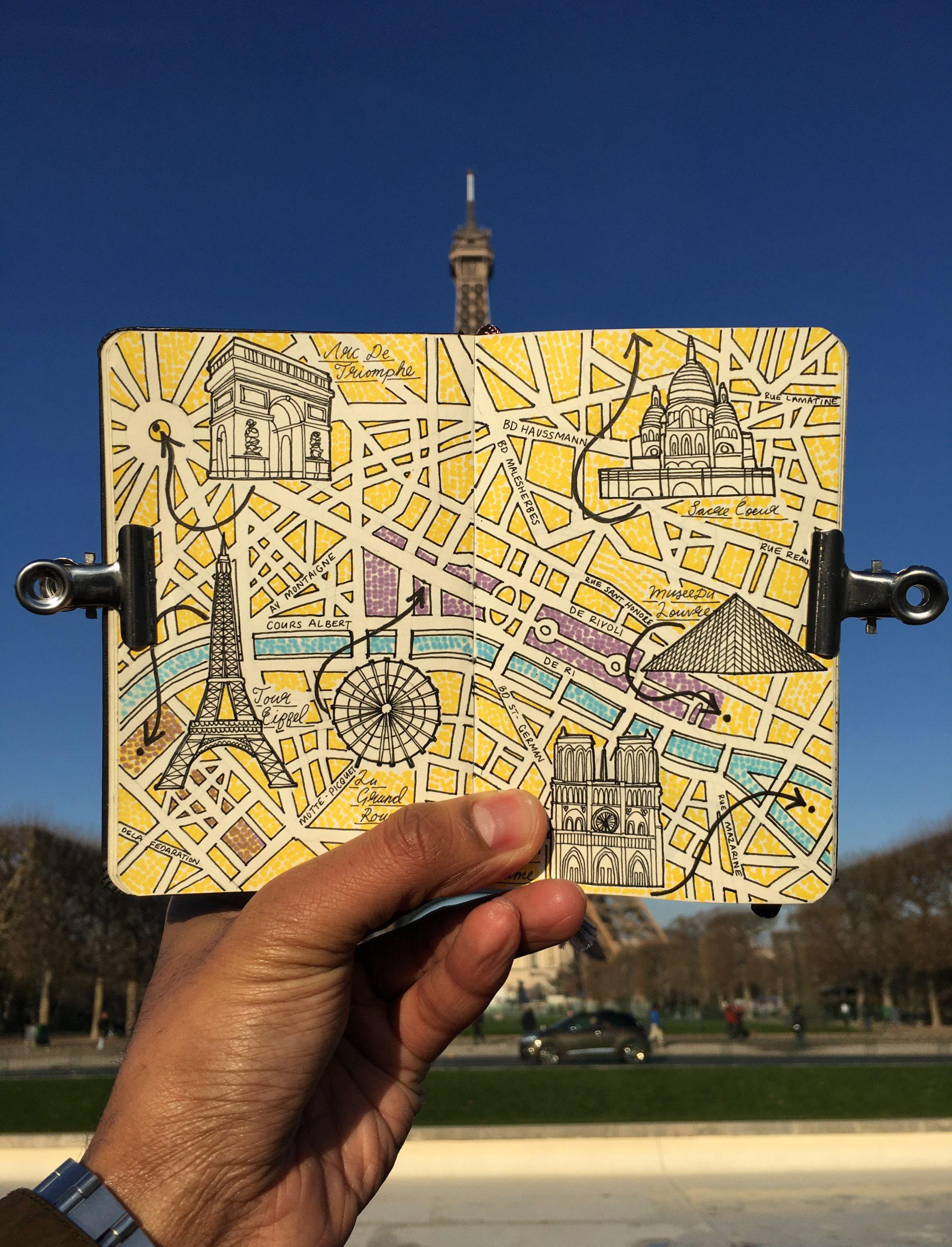 City Map Drawing of Paris