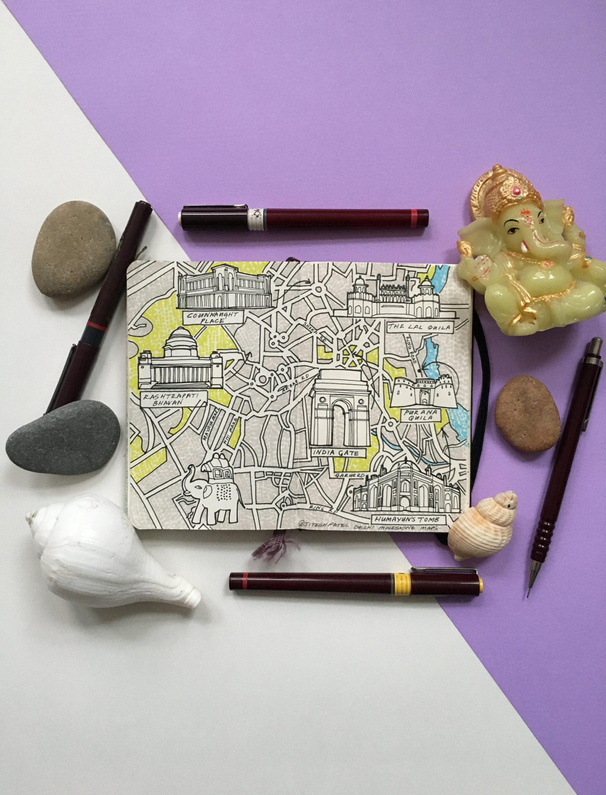 City Map Drawing of Delhi, India