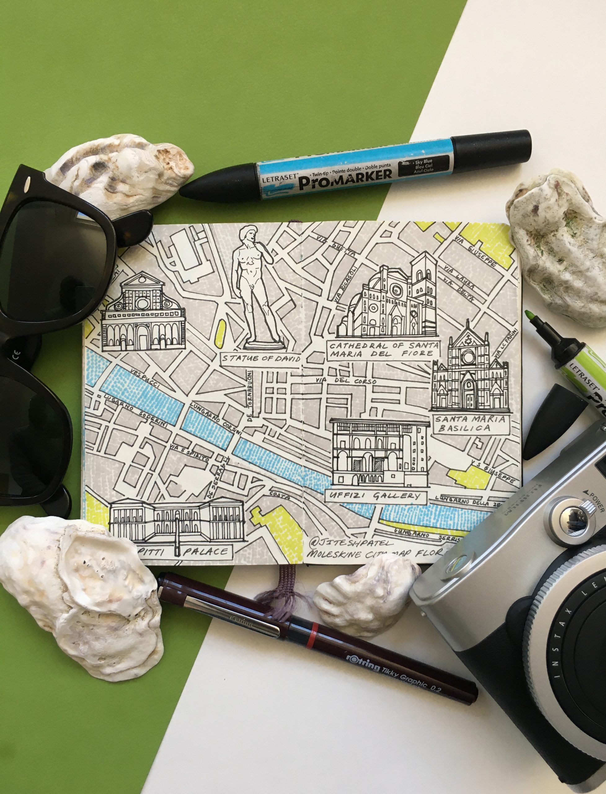 City Map Drawing of Florence, Italy