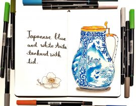 Japanese blue and white porcelain tankard