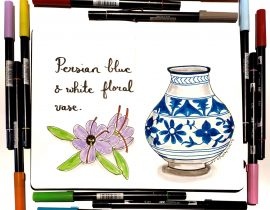 Blue and white Persian floral vase