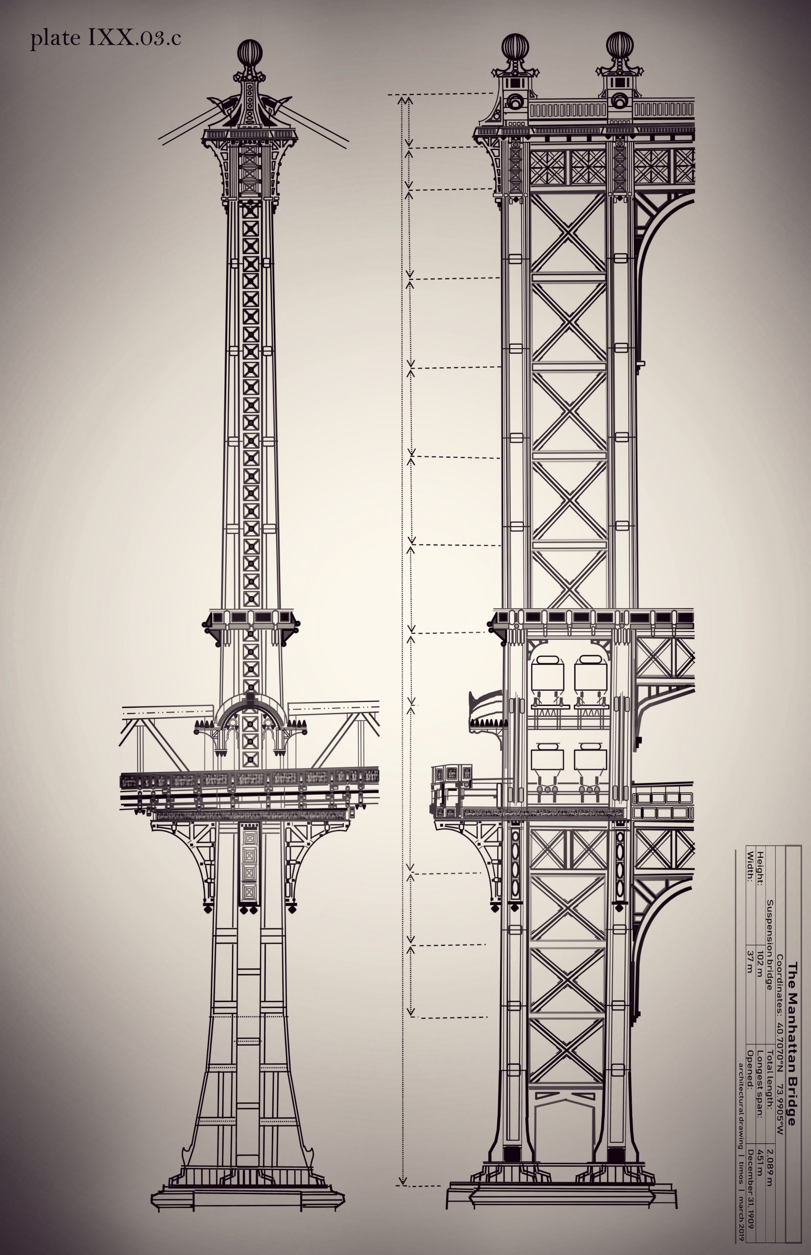 Manhattan Bridge   study of structure