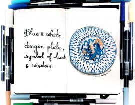 Blue and white dragon plate