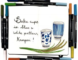 Blue and white sake cups