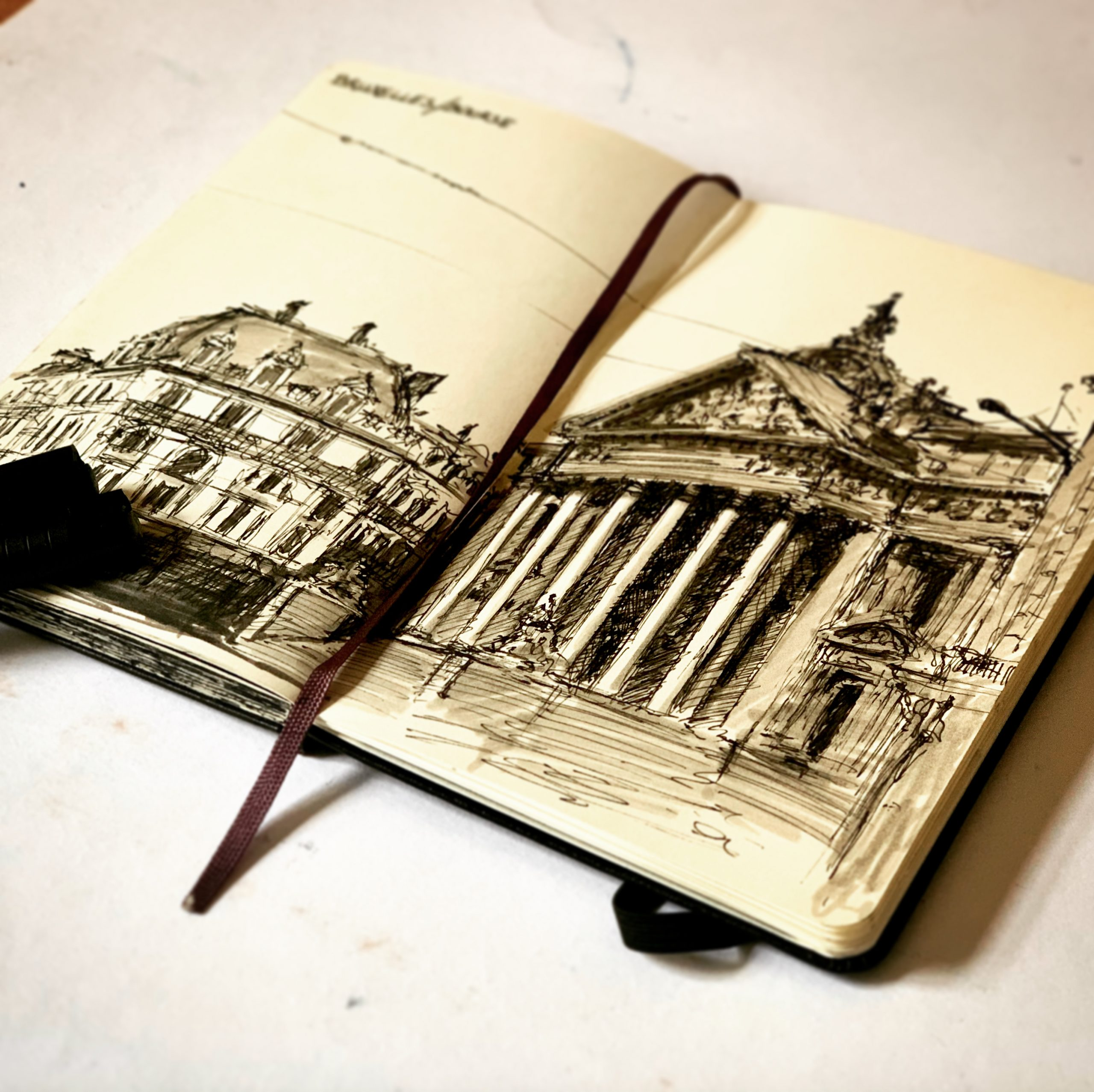 Sketching Brussels in my Moleskine sketchbook