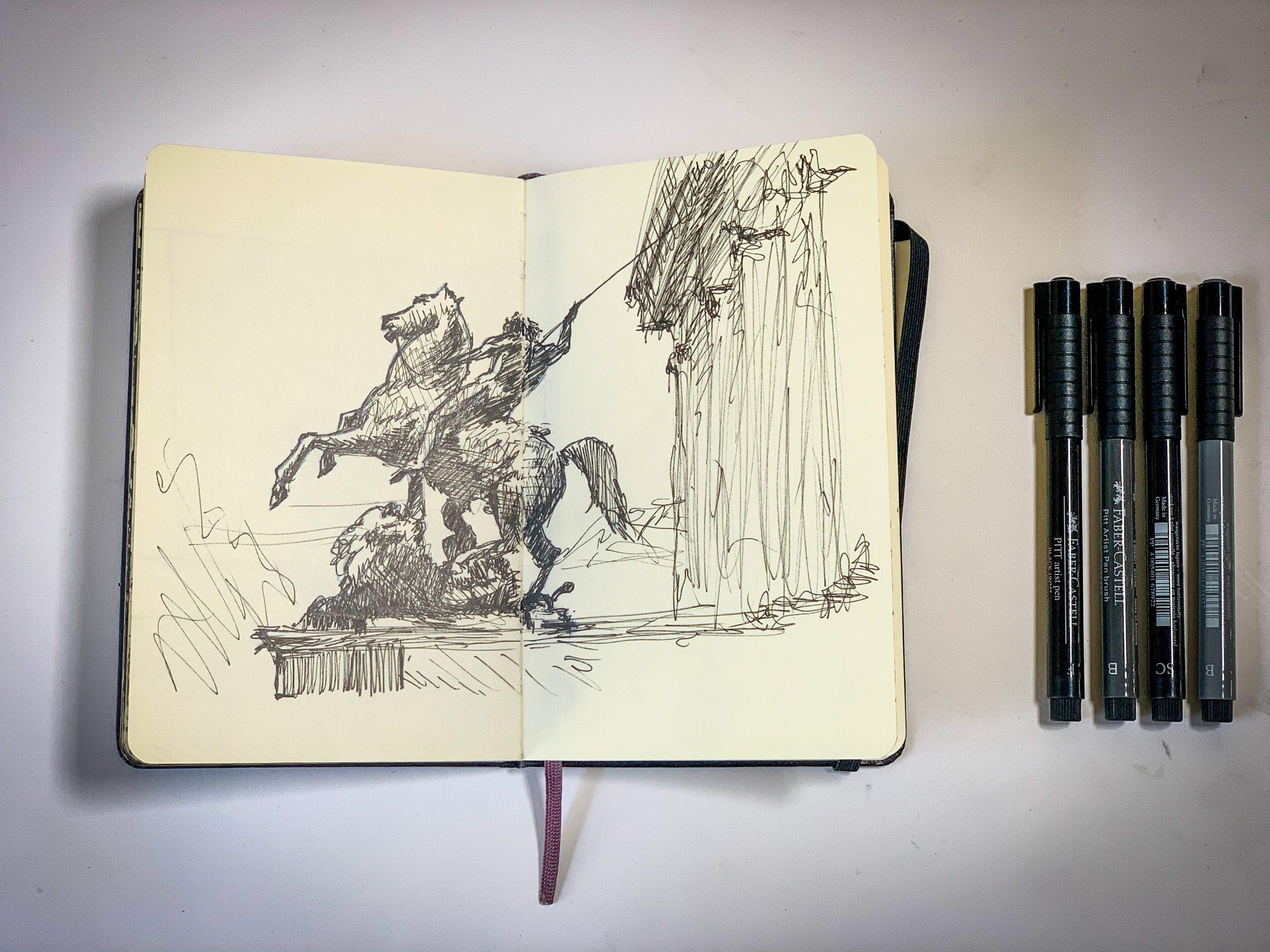 Berlin Museum entrance sketching