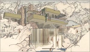 tribute to FLW Fallingwater by FLW – phase 04 – no background picture – trees and