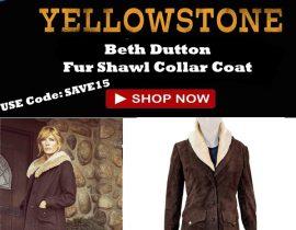 Yellowstone Beth Dutton Fur Shawl Collar Coat