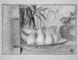 Sketch of the still life with fruits