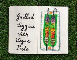 Grilled veggies and vegan pesto