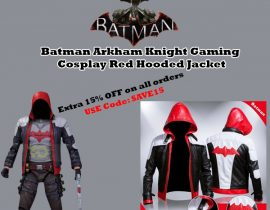 Batman Arkham Knight Gaming Cosplay Red Hooded Jacket