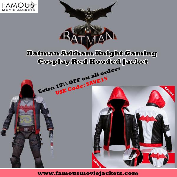 Batman Arkham Knight Gaming Cosplay Red Hooded Jacket